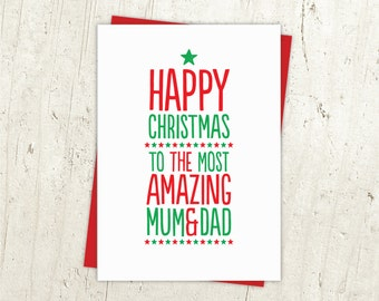 Most Amazing Mum & Dad Christmas Card