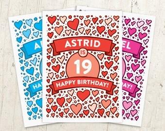 Personalised Birthday Card | Heart Birthday Card | Friend Birthday Card | Any Age Birthday Card | Cute Birthday Card | Birthday Card