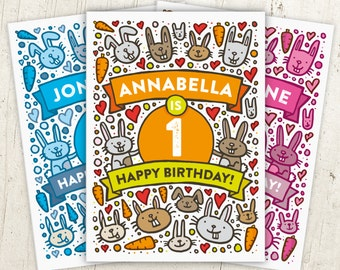 Rabbits Illustrated Birthday Card