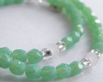 Mint Green Anklet Sterling Silver Swirl Charms -  Handmade Green Ankle Bracelet Faceted Glass Bead Anklet