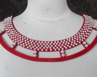 Cute embroidered   and beaded  applique red  color