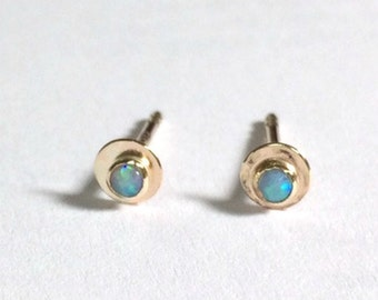 Opal studs, 14k Gold earrings, Stud Earrings,Blue Opal Earrings, Anniversary Earrings, Gift For Her, Clip On Earrings, Cluster Earrings