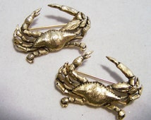 Scatter Pin Pair Jolle Maryland Blue Crab Pin Gold Tone Crustacean Brooch Vintage Jewelry 416DG