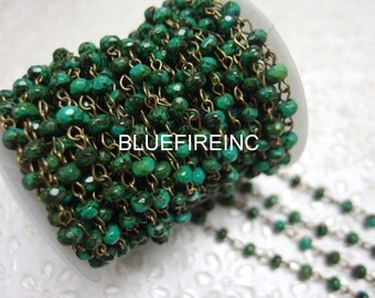 3 feet Faceted 6mm Roundelle Green Turqouise beads with Antique Bronze Wire Chain // Beaded Gemstone Jewelry Chain // Unfinished Chain