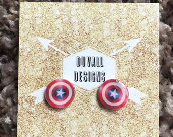 captain america earrings. marvel. earrings. captain america. avengers.