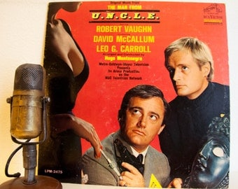 """ON SALE Art Project Cover for Hobby Creation - Vinyl Record Album """"The Man From U.N.C.L.E."""" (vinyl is in terrible shape)"""