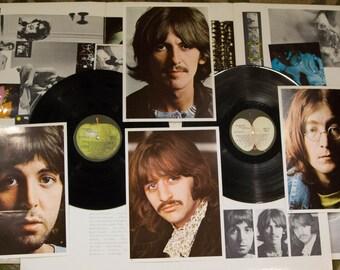 "ON SALE The Beatles Vinyl Record Album ""The White Album"" (1970s Numbered cover Apple Records Swbo 101 - w/ POSTER) Gatefold 2Lp"