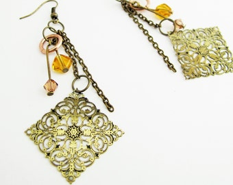 Boho Dangle Earrings ~ Brass Filigree Earrings ~ Long Boho Earrings ~ Brass Earrings ~ Brass Dangle Earrings ~ Boho Earrings Dangle ~ Beaded
