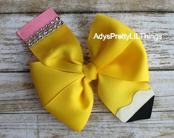 Pencil Bow Back to School Bow School Bows Pinwheel Bows Hair Bows Girls Boutique Bows