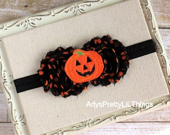 Halloween Headband Fall Headband Pumpkin Headband Flower Headband Jack-O-Lantern Headband Shabby Chic Baby Girls Hair Accessories