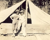 GIRLFRIENDS With Arms Around Each Other In Front of a CANVAS TENT Photo Circa 1930s