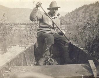 Man With CORN COB PIPE Paddling Canoe Photo Circa 1910s
