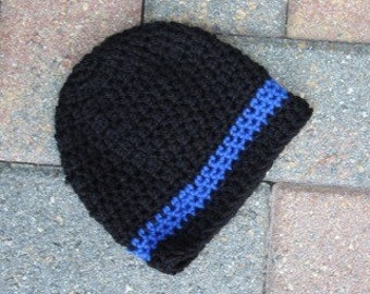 Thin Blue Line Beanie Baby Police Hat, Newborn Hat, LEO Lives Matter, Thin Blue Line Police Officers, Police Badge, Ready to Ship