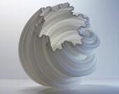 Geometric Spiral 3D Printed Vase, Wedding Vase, Modern Art, White Vase, Fractal, wedding decor