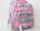 Small Backpack With Monogram  (Small Size) -- Gray/Pink Ballerina