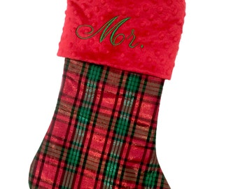 Plaid Christmas Stocking, Red and Green Plaid Christmas Stocking, Personalized Christmas Stocking, Traditional Stocking, Preppy Stocking