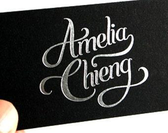 200 Business Cards - black 14PT matte stock - silver metallic foil stamped