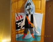 Kids hooded towel-Pirate-beach-pool-bathtime-poncho style