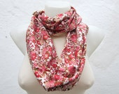Flower Print Loop Scarf,infinity Scarf,Cotton Fabric Scarf