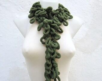 Crochet Scarf,Long Scarf,Green,Mulberry Scarf,Pompom,Scarf