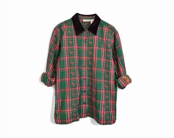 Vintage Holiday Plaid Shirt with Black Velvet Collar / Poinsettia Blouse / Metallic Gold Green Red Top - women's large