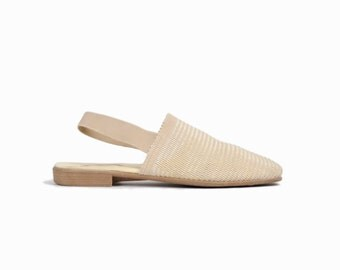 Vintage 90s Slingback Flat Shoes in Ivory Cream / Woven Slingback Flats