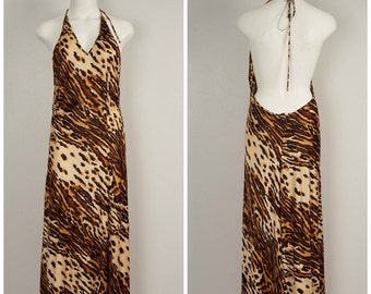 Dolce and Gabbana animal print cocktail dress halter top backless Body Con sexy party dress 44 XS
