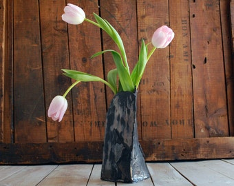 Modernist Black Bronze Ceramic Vase, 3 sided Raku stem vase