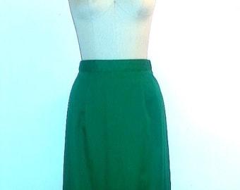 SUMMER HEAT SALE 1960s Green Skirt ~ 60s Spring Skirt ~ Girl Scout Skirt