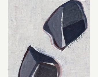 """ON SALE Modern Painting - 16x20x2"""" on Wood--Textured -White- Black-Gray bit of pink and plum-Ready to Hang"""