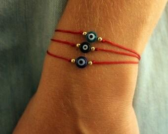 Evil eye bracelet, red string bracelet, nazar bracelet, talisman jewelry, lucky amulet, protection bracelet, spiritual bracelet