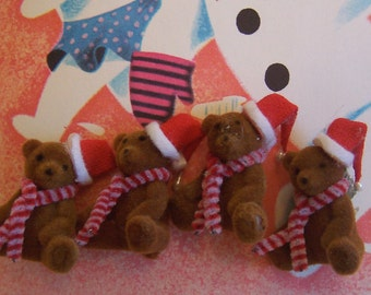 four very very cute flocked bears