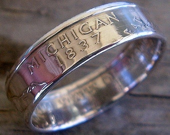 2004 Silver Michigan State Quarter Coin Ring (90% Silver) (Available in sizes 4 through 9)