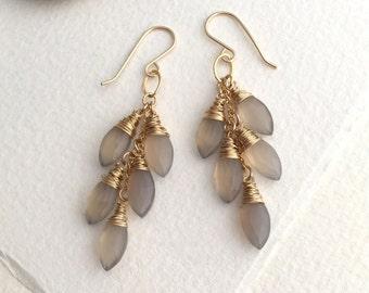 Grey Moonstone Quartz Waterfall Earrings