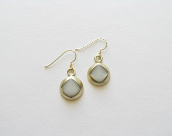 Inclusion Earrings-Resin Earrings-Modern Gold Earrings-Modern Dangle Earrings-White Earirngs-Modern Jewelry-Contemporary Jewelry