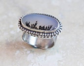 Dendritic Agate Ring in Sterling Silver Handcrafted Setting Size 7