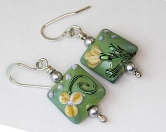 Garden Flower Glass Earrings in Sterling Silver