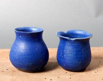 small vases vessels unique blue collection poterie toki ceramica handmade pollipots scandinavian studio pottery