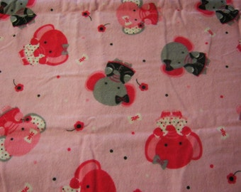 Sassy Elephants 30 inches Flannel Fabric-Pre Washed for Diapers, PJ's