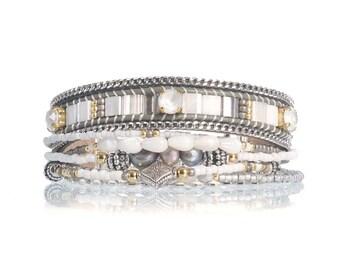 Beaded multistrand bracelet set - Miyuki tila bracelet - Bohemian bracelet - Bohemian jewelry - beadweaving bracelet - loom woven bracelet