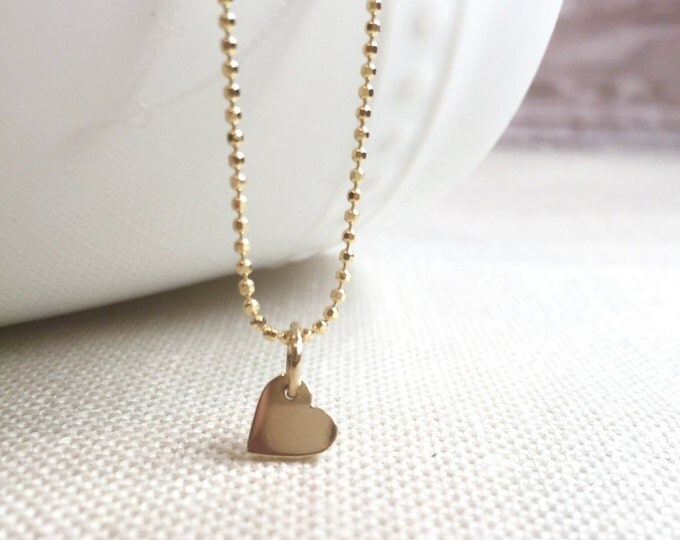 Tiny Solid 14 Karat Gold Necklace