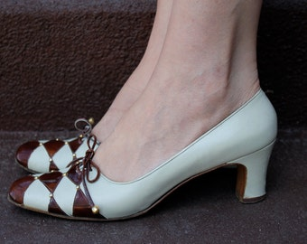Vintage 1960's Ferragamo Harlequin Shoes (Size 9)
