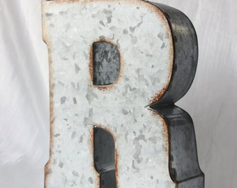 Large Metal Letter Zinc Steel Initial Home Room Decor Diy Signs Letter Vintage Style Gray Silver