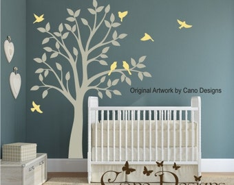 Tree with birds vinyl wall decal, removable decals stickers