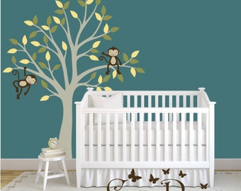 Tree With Monkeys Vinyl Wall Decal, Nursery Wall Decals,  Removable Decals Stickers