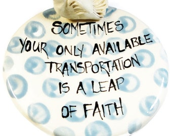 Leap of Faith Blue Polka Dot Dish with Dove Hand painted Dish Bowl Spoon Rest Jewelry Tray