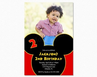 Mickey Mouse Birthday Party Invitation, Mickey Mouse Invitation, Printable Invitation, Photo Invitation, Red, Black, Yellow