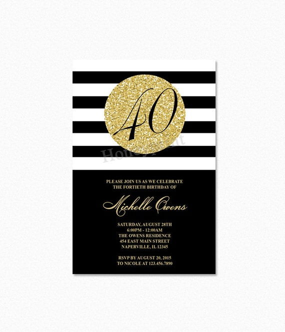 Gold 40th Birthday Party Invitation Black and White Stripes 40th – 40th Birthday Party Invitations