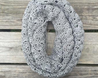 Gray Crochet Shell Stitch Scarf - Inifinty Scarf