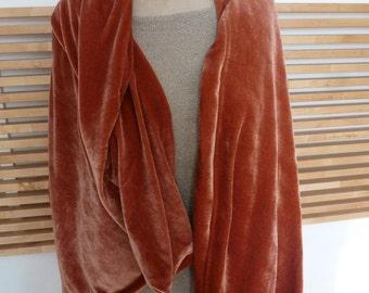 Caramel rose color velvet shawl scarf